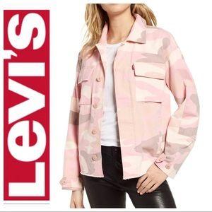 NWT LEVI'S OVERSIZED Pink CAMO Shirt JACKET Coat